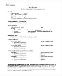 High School Resume Examples For Jobs Resume Blank Templates Free