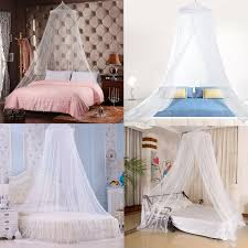 4 Corner Elegant Lace Post Bed Canopy Mosquito Net Full Queen King ...