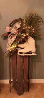decorate old sled for the holidays christmas ideas pinterest