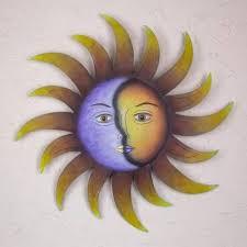 artisan crafted sun and moon wall art
