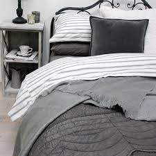 auberge french grey or blue stripe ticking duvet set includes pillowcases