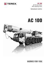 Demag Ac 100 Load Chart Demag All Terrain Crane Demag Ac100 Cranepedia
