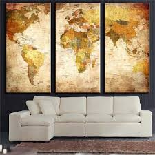 Oil Painting For Living Room 3 Panel Vintage World Map Canvas Painting Oil Painting Print On