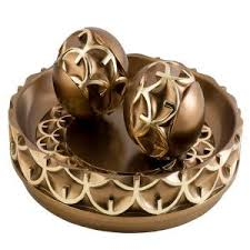 Decorative Orbs For Bowls ORE International 60 in H Handcrafted Bronze Decorative Bowl with 26