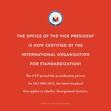 Philippines Report Under Vp Leni S Leadership Ovp Now Iso Certified