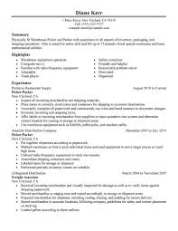 How Should A Professional Resume Look Best Picker And Packer Resume Example LiveCareer 10