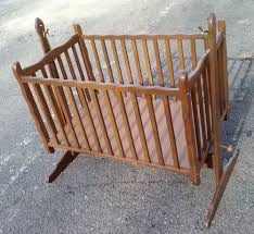 Antique Baby Cribs Antique Vintage Wood Baby Nursery Rocking Cradle Crib Bed Pick Up