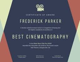 Recognition Awards Certificates Template Geometric Film Fest Award Certificate Templates By Canva