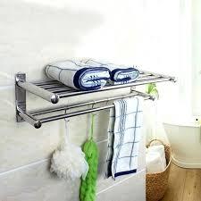 towel shelf for bathrooms double layer bathroom storage rack hanger stainless steel wall mounted towel shelf