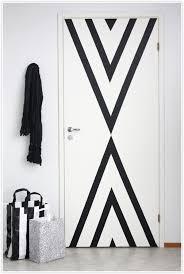 black white geometric pattern paint door triangle decor interiors