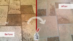 this dingy travertine floor is as good as new after our stone cleaning service in stamford