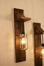 Awesome lighting Led Diy Pallet Mason Jar Chandelier Light Fixture Awesome Lighting Idea To Give Try Tools Trend Light Pair Of Reclaimed Wooden Mason Jar Chandelier Wall Mount Fixture