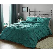luxury green blue teal coloured pintuck super king size duvet cover set