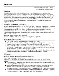 Sample Resume Biotechnology Professional Sample Resume For Internship In Biotechnology Best Professional 2