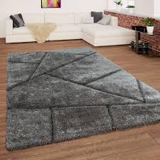 Details Zu Teppich Grau Anthrazit Wohnzimmer Hochflor Shaggy Weich Flauschig 3 D Muster