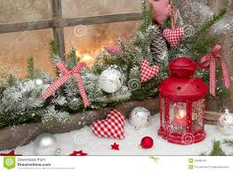Rustic Christmas Decorations Red Christmas Decoration With Lantern On Window Sill With Wood