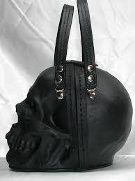 black leather skull purse