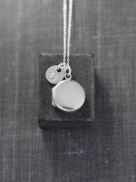 sterling silver locket necklace plain small round pendant with initial charm modern mini