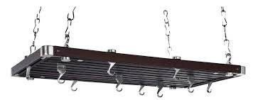rectangular ceiling mounted pot rack made with metal and wood racks stainless steel types of