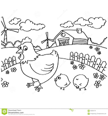 Small Picture Chicken Coloring Pages Vector Stock Vector Image 59305474