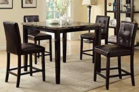 counter height dining table and 4 high chairs by poundex