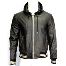 leather hooded jacket zoom mens