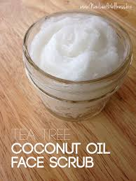 homemade tea tree coconut oil face scrub