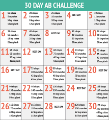 30 Day Leg Challenge Chart Perfect Six Pack Workout 30day Abs Challenge