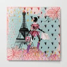 <b>Fashion</b> girl in Paris - Shopping at the <b>EiffelTower</b> Metal <b>Print</b> by ...