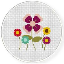 Charts Club Members Only Pretty Simple Flowers Cross Stitch Pattern