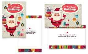 Retro Santa Greeting Card Template Word Publisher