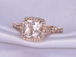 Design Your Own Morganite Engagement Ring Natural Pink Morganite Engagement Ring Rose Gold 7mm