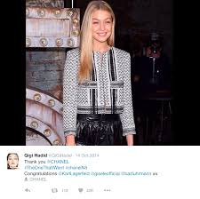 model gigi hadid wears a chanel designed coat inspired by the palestinian keufiyyah photo