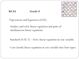 kcas grade 8 expressions and equations 8 ee yze and solve linear equations