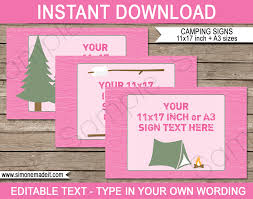 pink girl camping party signs editable printable diy templates party decorations tabloid