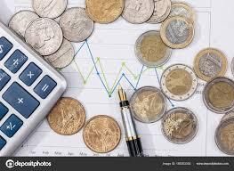 Euro Cent Dollar Cent Business Chart Pen Stock Photo