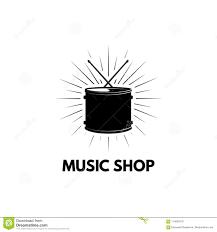 Treble Clef Music Store Drum Icon Music Shop Logo Label Musical Instrument Drumming