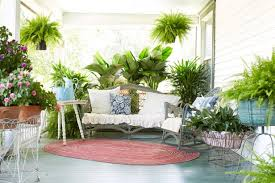 your porch with ferns and flowers