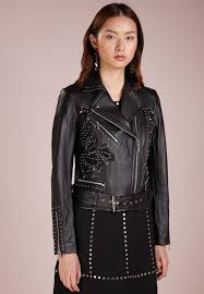 michael michael kors applique moto leather jacket black zalando co uk