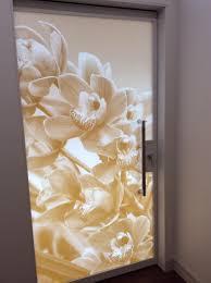 Flower Design Glass Door Art On Doors