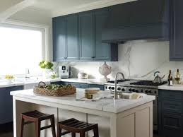 Blue Cabinets Kitchen White Island With Carrara Marble Countertop Colonial Blue