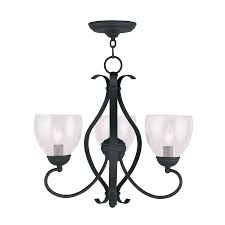 livex lighting brookside 20 in 3 light black wrought iron clear glass shaded chandelier