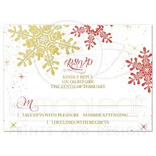 How To Reply To Wedding Rsvp Card Red Gold Snowflake Winter Wedding Rsvp Reply Card