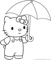 Small Picture Hellokitty With Umbrella Coloring Page Free Hello Kitty Coloring