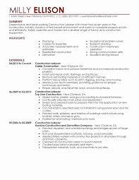 General Laborer Resume Sample Unique Laborer Job Description For