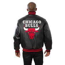 chicago bulls jh design leather jacket black red