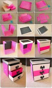 diy pink makeup box made out of cardboard bo