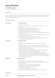 professional software engineer resumes software engineer resume samples and templates visualcv