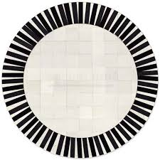 custom cowhide patchwork round rug 6in squares sun black on off white
