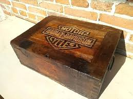 old wooden tool box in garage style with harley davidson logo wood tool boxes woodworkers tool